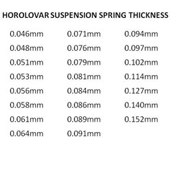 The Horolovar suspension springs come in 24 sizes