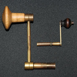 Two crank keys, the larger one for a longcase clock is modern and the smaller one for a Vienna regulator is an original