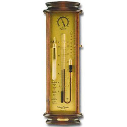 A modern reproduction sympiesometer or Admiral Fitzroy storm glass oil-filled barometer