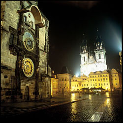 Prague's Old Town Square at night